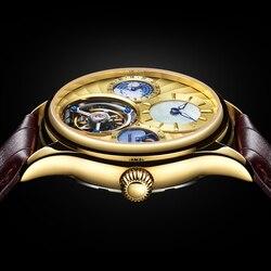 Guanqin 100% Tourbillon Mechanische Uhr Luxus Automatische Skeleton Tourbillon Uhr Männer Business Drei Kreis Uhr Reloj Hombre
