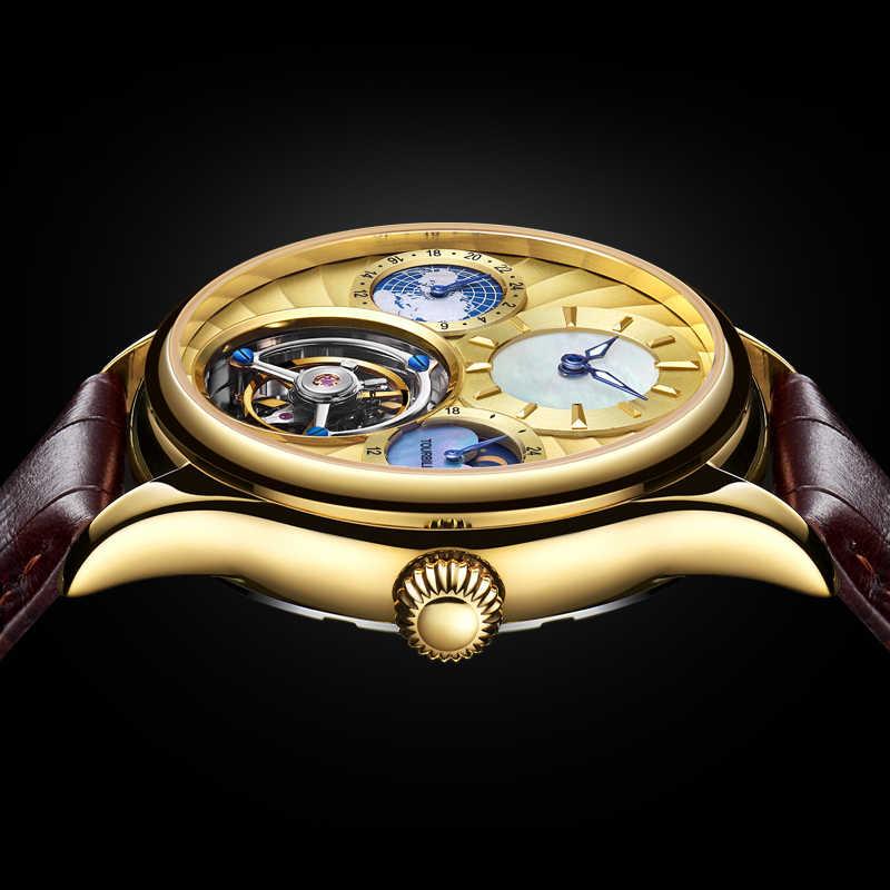 Guanqin Tourbillon מכאני שעון יוקרה אוטומטית שלד Tourbillon שעון גברים עסקים שלושה מעגל שעון Reloj Hombre