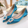 new spring 2017 High Quality brand same style women Rhinestone pointed toe flat shoes lady shoe Party Shoes