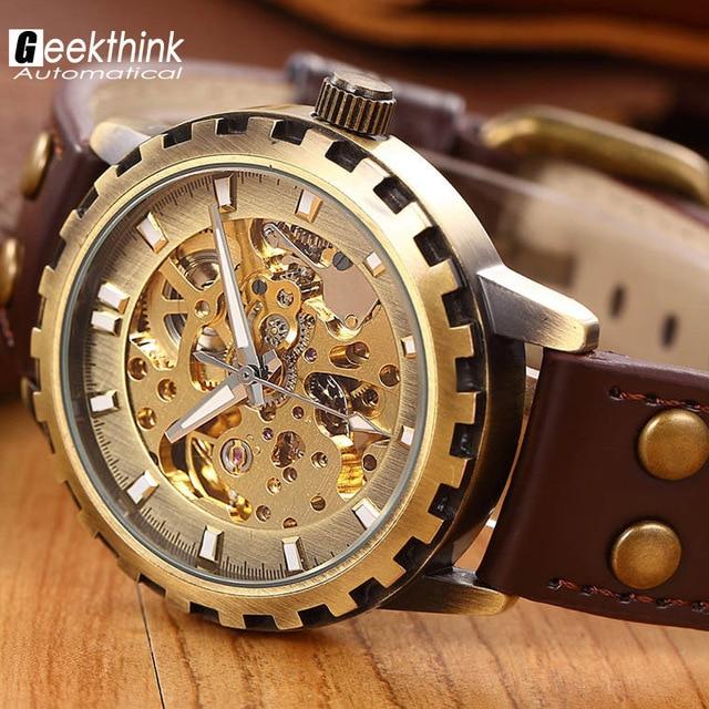 d81730abe5f Marca homens pulseira de couro relógio militar masculino Relógio mecânico  Esqueleto automático de auto vento presente