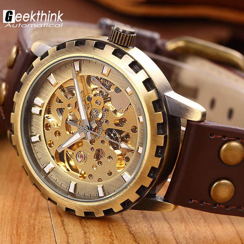 Prix pour Marque en cuir bande hommes mâle militaire horloge automatique Squelette Montre mécanique auto vent Vintage de luxe qualité cadeau Steampunk
