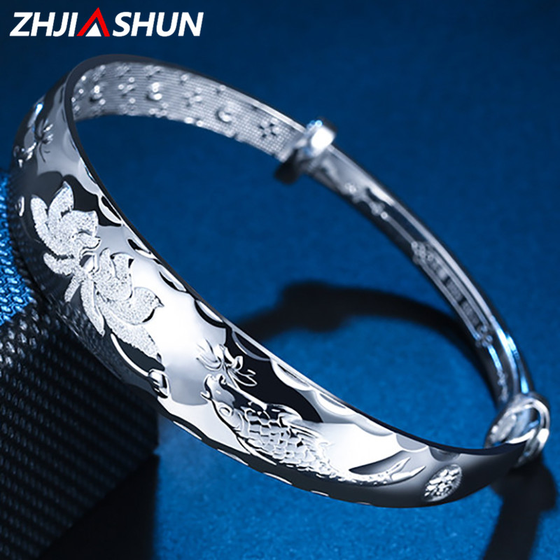 ZHJIASHUN S999 Sterling Silver Lotus and Fish Bangles Thai Silver Adjustable Bracelets for Women Ladies Accessories magic fish bracelets