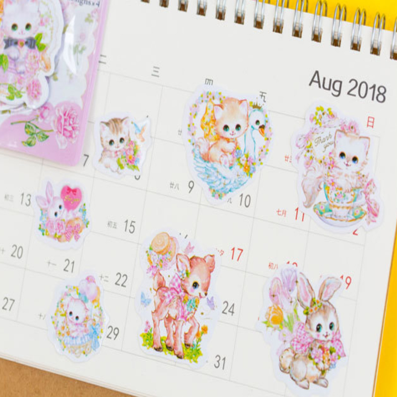 20packs/lot Kawaii cats flower Bronzing Paper Stickers DIY Diary Decoration Scarpbooking  Label Sticker