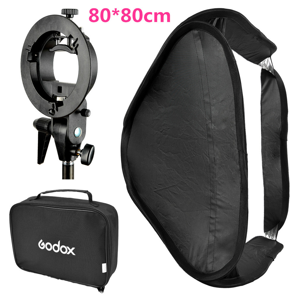 Godox 80x80cm 31.5x31.5'' Flash Diffuser Photo Studio Softbox with S-type Bracket Bowens Mount Holder for Canon Nikon Speedlite
