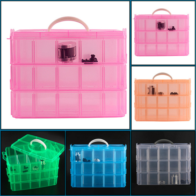100% Brand New 30 Grids 5 Colors Plastic Storage Box For Toys Jewelry Display Makeup Case Holder Craft top quality