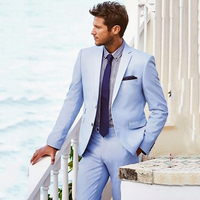Custom made Light Blue Men suits Jacket+Pants For wedding Handsome Slim Fit Groom Prom Tuxedos Suits Masculino Suits