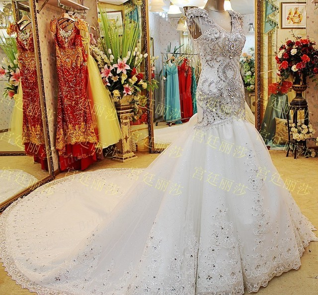 caro vestido de novia en línea shinning moldeado cristalino nueva