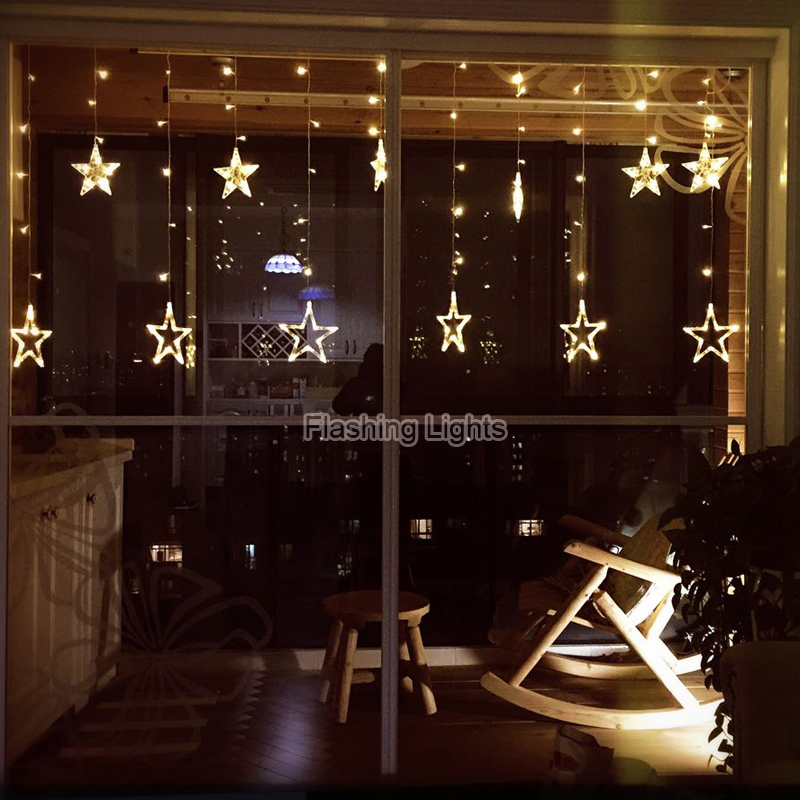 Christmas Decorating With String Lights : V pcs led fairy string lights star curtain
