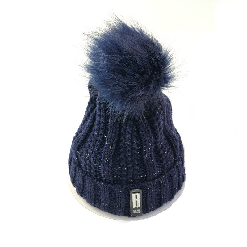 PEIWU  Winter Hat Knitted Thickened Cotton Women's Hat Warm Pom Poms Hats For Women Girl Knitted Beanies Female Cap