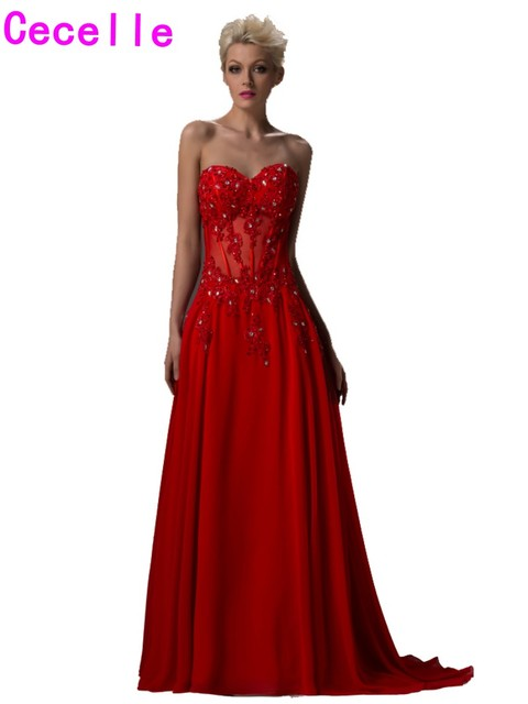 2017 Real Long Red A line Chiffon Evening Dresses Sweetheart Corset ...