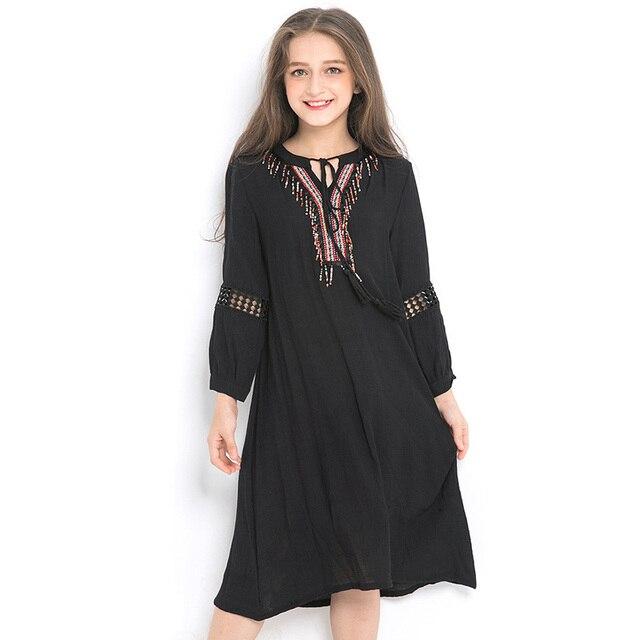 26110156c4f1 Big Girls Chiffon Dresses Kids Long Sleeve Embroidery Black Dress children  Clothing for Teens girl costume 6 8 10 12 14 Year old