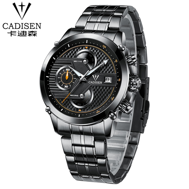цены Mens Watches Top Brand Luxury Analog Display Stainless Steel Watches Men Quartz-Watch CADISEN Watch Male Montre Homme 2018
