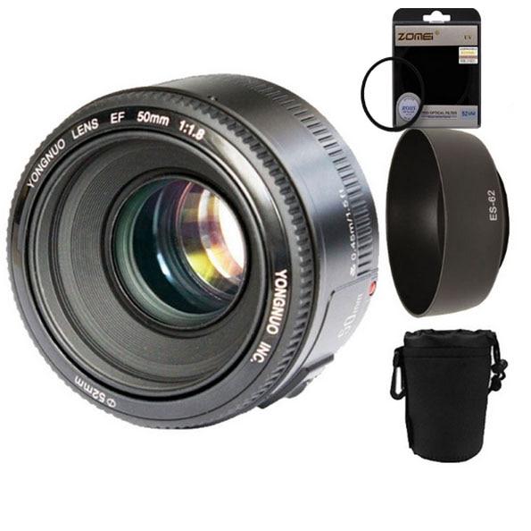 YONGNUO YN50mm f1.8 YN EF 50mm f/1.8 AF Lens YN50 Aperture Auto Focus for Canon EOS Cameras+lens hood+52mm uv filter+lens bag