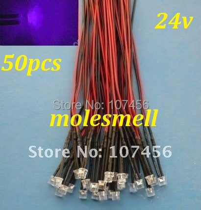 Free Shipping 50pcs 5mm Flat Top Purple LED Lamp Light Set Pre-Wired 5mm 24V DC Wired 5mm 24v Big/wide Angle Uv/purple Led