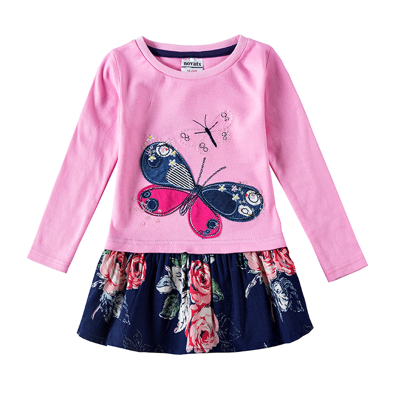 novatx H5460 girls frock children clothes butterfly kids dresses girls nova baby clothing autumn kids wear child girl dresses