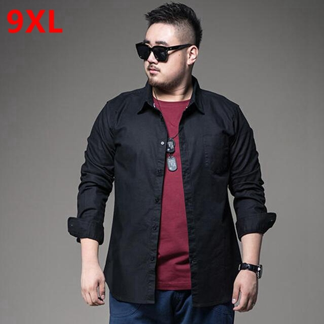Plus size men s clothing black-and-white long-sleeve shirt professional shirt  fat business casual solid color Extra large men s 7ef2a043d515