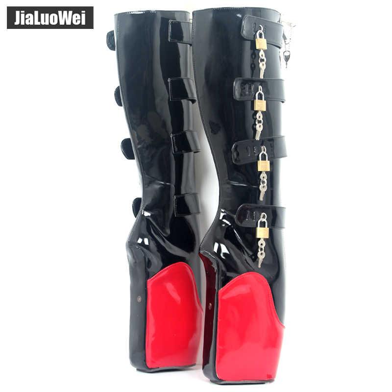 Jialuowei 2018 Yeni 8 Tuşları Garip Kama Yüksek Topuk Heelless Eğitim Asma Kilitler YKK Fermuar Kilitlenebilir Diz Yüksek Bale Botları unisex