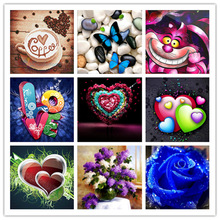 Diy Diamond Painting 5d  Embroidery Heart Shaped Letter Pattern Rhinestone Mosaic Butterfly and Rose