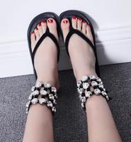 Wholesale Women Thong Sandals Flat Flip Flops Bling Bling Crystal Rhinestone Summer Beach Shoes Cusual Outside Flat Sandals
