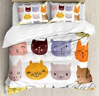 Cat Duvet Cover Set Watercolor Effect Cat Heads in Colorful Humor Fun Purring Meow Animal Kids Artsy Print 4 Piece Bedding Set