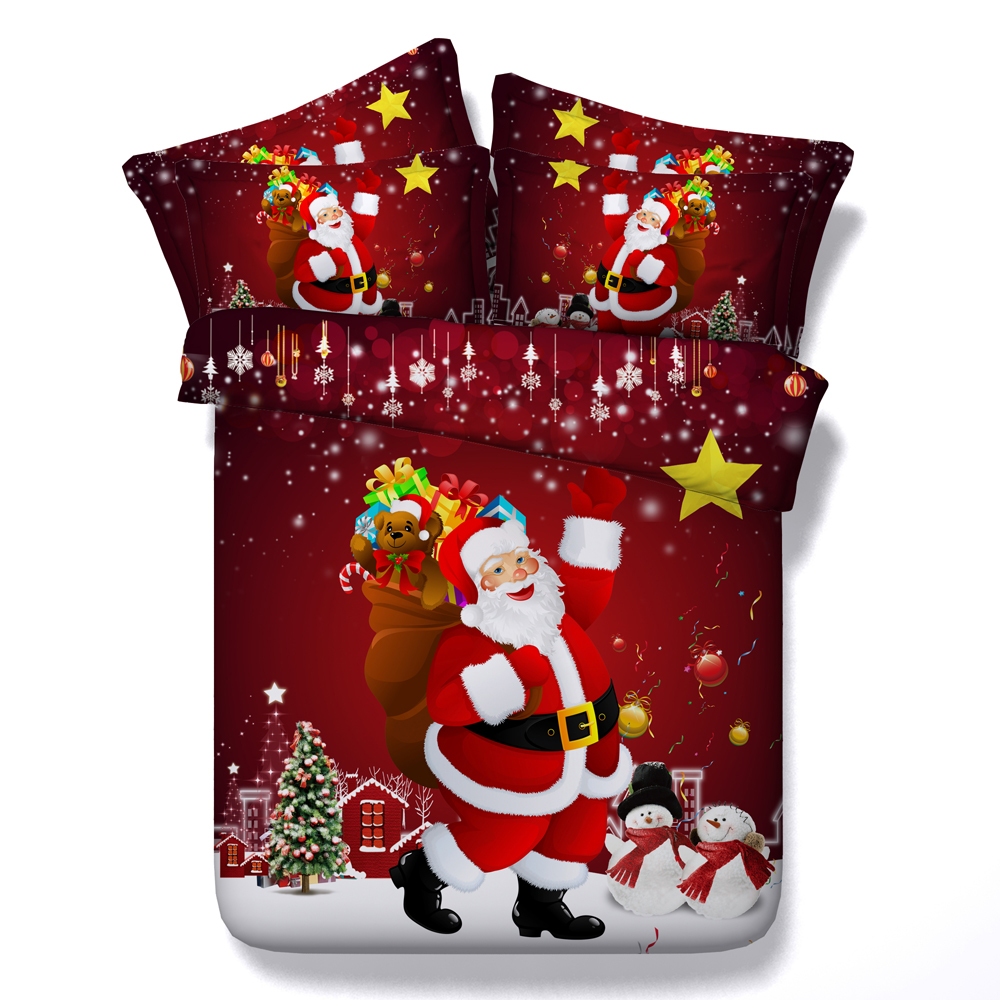 Red Santa Claus Gift Print Comforter Bedding Sets Twin Full Queen Super Cal King Size Bed Bedspread Duvet Covers Christmas Child