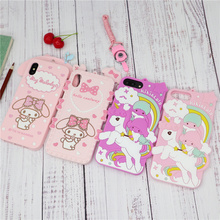 Cute Cartoon 3D My Melody Little Twin Stars Phone Case for iPhone 6 6s 7 8 Plus X XS Soft Silicone Rubber Cover Coque Fundas