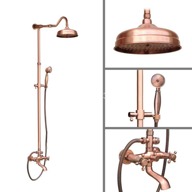 rainfall shower head antique red copper round shape shower heads bathroom rain shower head j041 Red Antique Copper Wall Mounted Bathroom Rain Shower Head Handshower Head Rainfall Shower Faucet Set Bath Tub Mixer Tap arg650