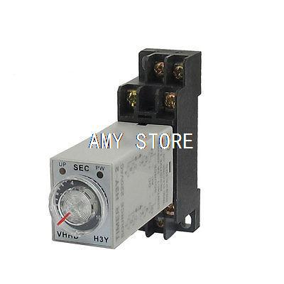 AC 220V 8 Pins DPDT 0-10S Timer Delay DIN Rail Time Relay H3Y-2 w Socket