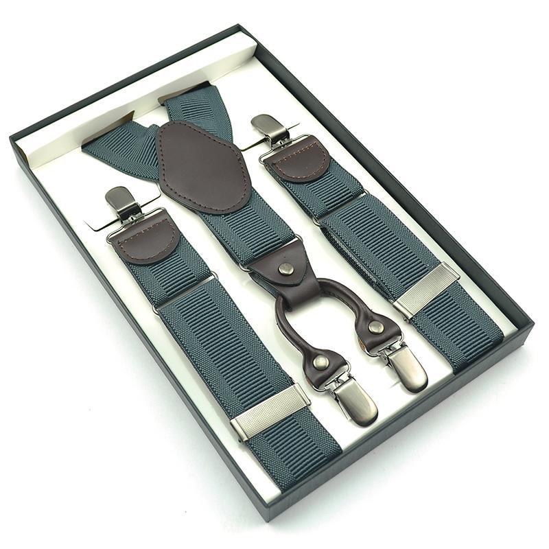 Brand New Men Gift Box Braces Four Clip On Drawing Buckle 3.5cm Suspender Male Y-back ElasticTirantes Hombre Suspenders Gallus