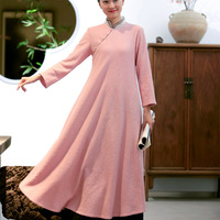 Chinese Wind Literary Solid Color Pleated Fashion Long Sleeve Loose Retro Wool Robe Dress Casual Women