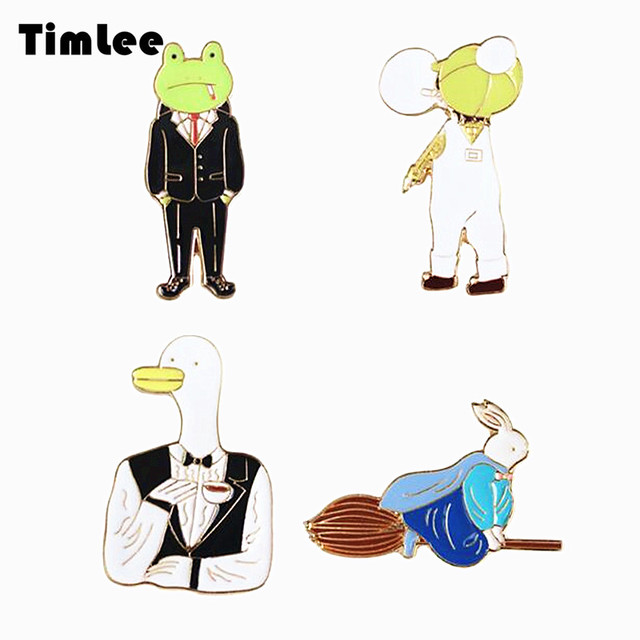 Timlee X360 Cartoon Animals Frog Pin Duck Rabbit Metal Brooch Pins Personality Jewelry Wholesale