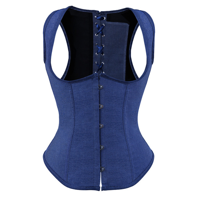 Sexy Jeans Shoulder Strap Vest Underbust Corset Top Lace Up Boned Outwear Waist cincher Buatier with G-string Plus Size S-6XL