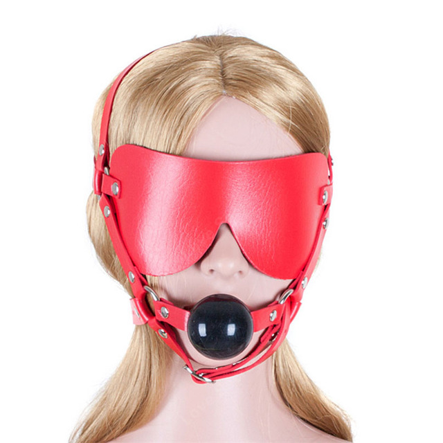 PU Leather Head Harness Sexy Blindfolds Gag with Silicone Mouth Ball Adult GamesSex Slave Bdsm Fetish Fantasy Sex Toy for Couple