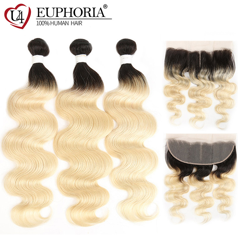 Honey Blonde 1 3 Bundles With Frontal 13x4 Brazilian Body Wave Hair Weaves 1B 613 Bundles