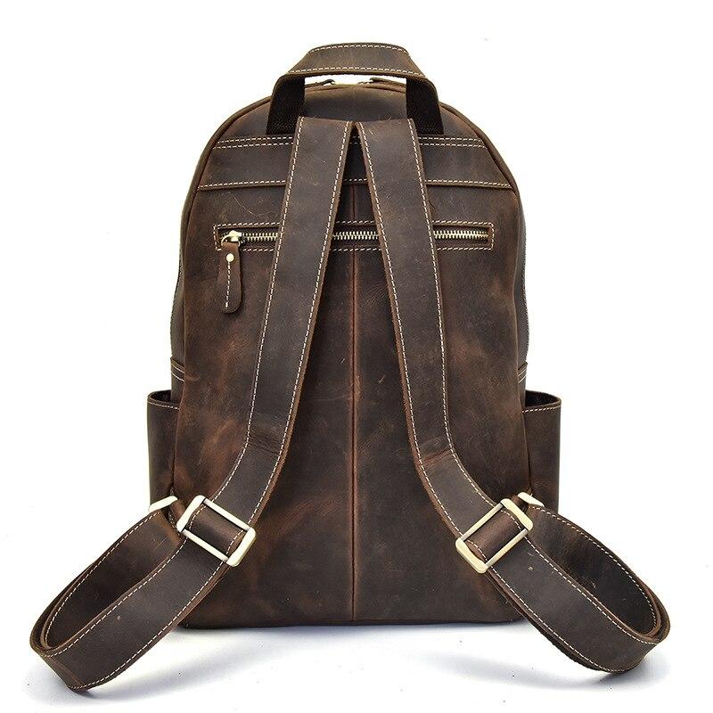 Prawdziwej skóry na co dzień duży plecak stałe torba szkolna dla mężczyzn w Plecaki od Bagaże i torby na  Grupa 3