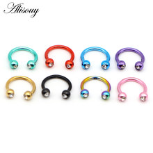 Alisouy 1pc Ball Head Horseshoe Piercing Womens Mens Nose Septum Ring Lip Nipple Eyebrow Rings Lobe Hoops Cartilage Earrings(China)