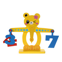 Kids Montessori Wooden Math Toy Gift Children Numbers Fruits Wooden Balance Scale Toy for Baby Kids Early Math Education