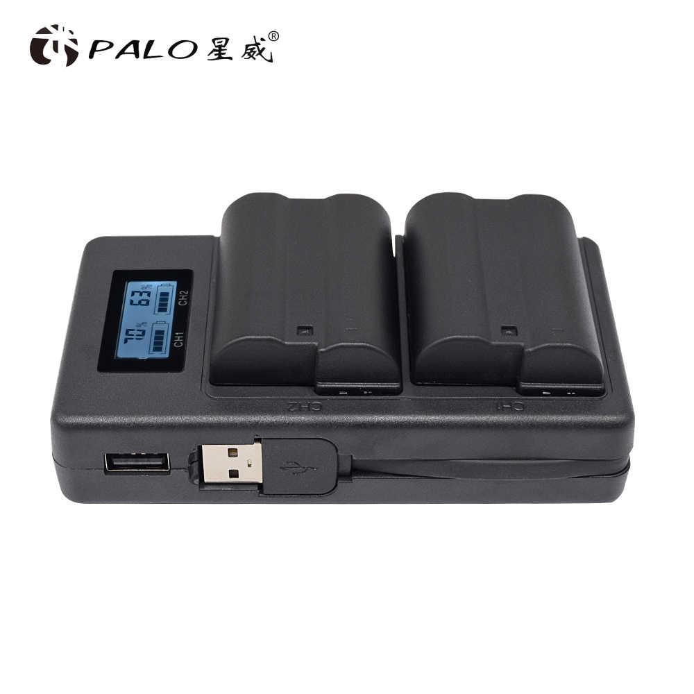 بالو EN EL15 ENEL15 EN-EL15 LCD شاحن مزدوج لنيكون D500 ، D600 ، D610 ، D750 ، D7000 ، D7100 ، D7200 ، D800 ، D800E ، D810 ، D810A v1