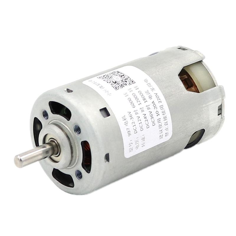 997 мощный двигатель постоянного тока, высокоскоростной двигатель 12-36 в, бесшумный Шарикоподшипниковый двигатель