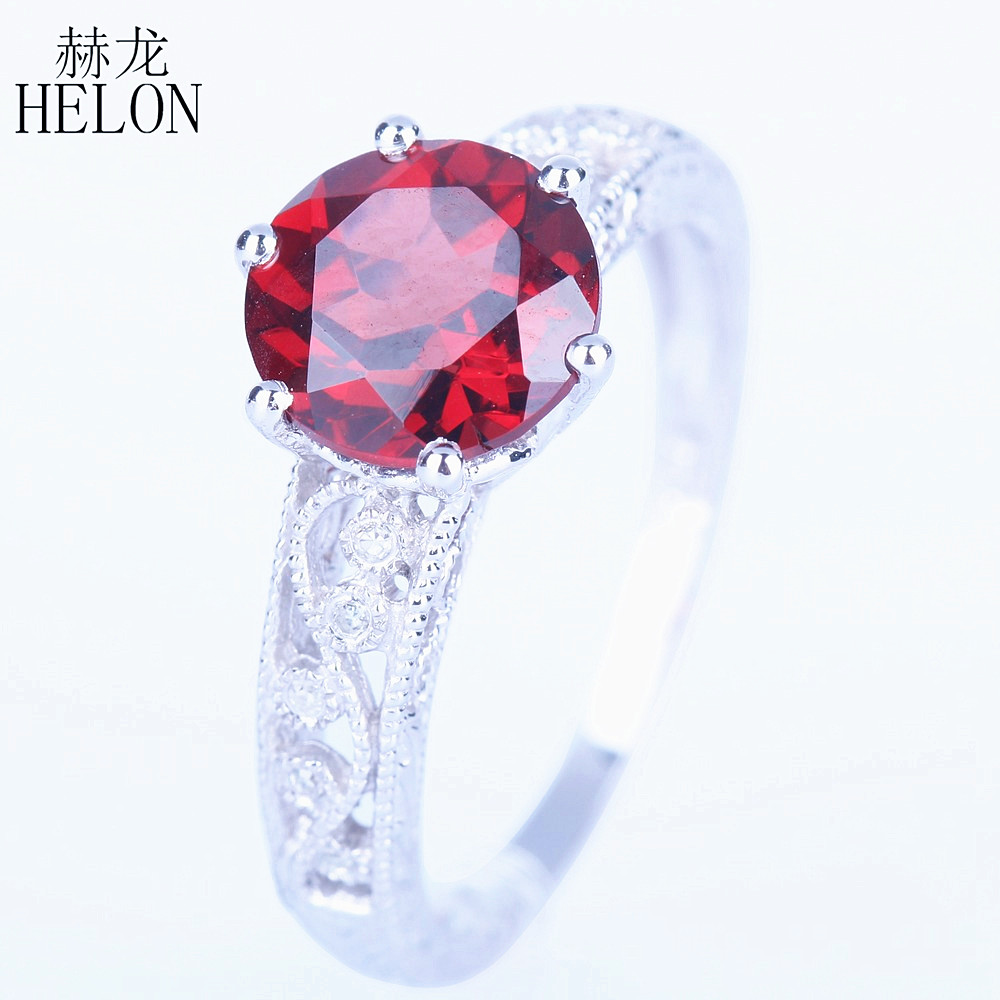 HELON Solid 14k White Gold Round Natural Garnet Engagement Ring Diamonds Ring For Women Wedding Antique Vintage Art Deco Jewelry natural ruby solid 14k white gold women girl engagement ring wedding band leaf art deco promise ring romantic cute thin