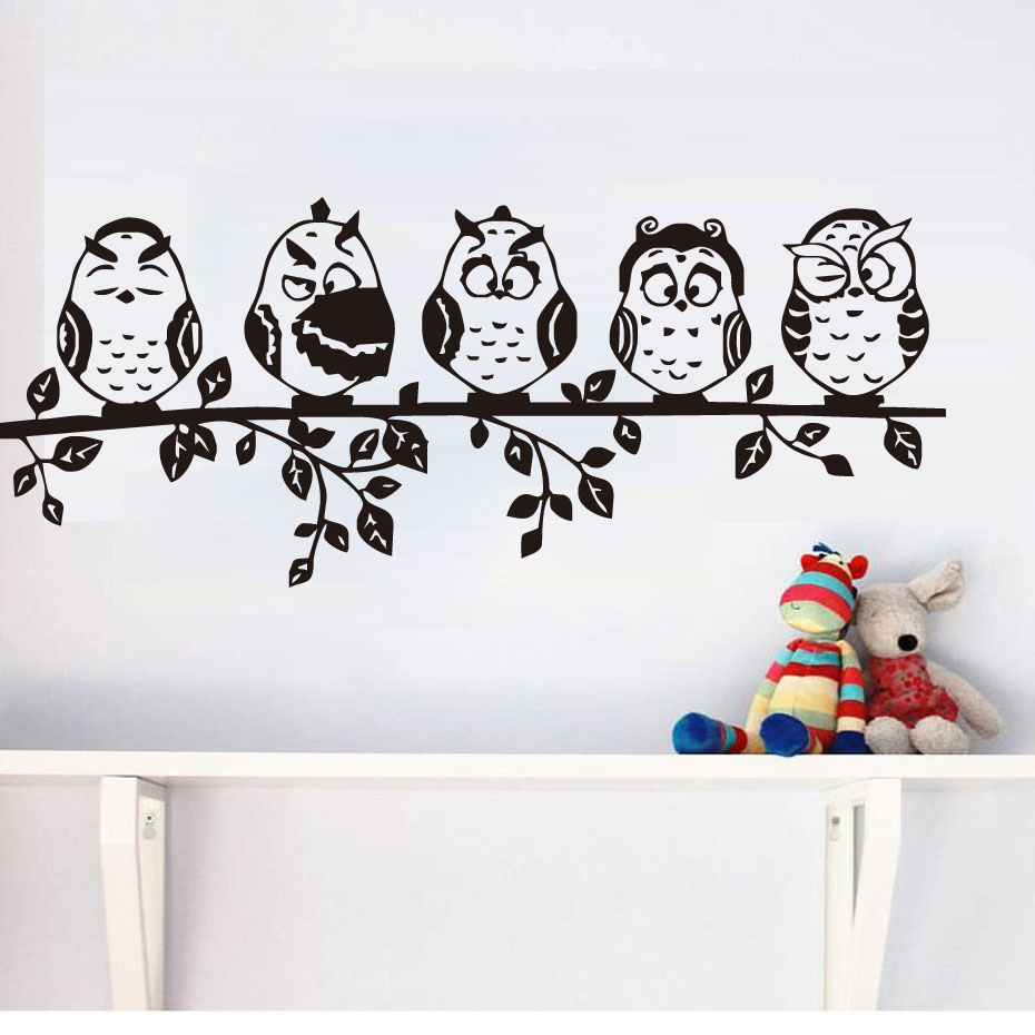 Five Coffee Baby Owl Black Wall Sticker Cartoon Decals PVC Waterproof Hollow Out Home Decor Living Room Decal