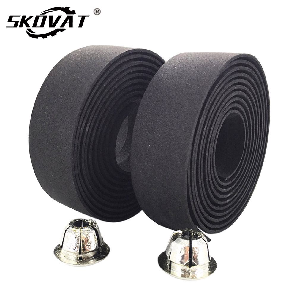 2Pcs Anti-slip Carbon Leather Road Bike Handlebar Tape Grip Wraps with Bar Plug.
