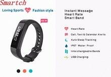 Smartch IP67 водонепроницаемый SmartBand браслет сердечного ритма Мониторы G-Сенсор тренажерный зал Браслет для Android IOS PK Xiaomi Mi band 2 smart WR