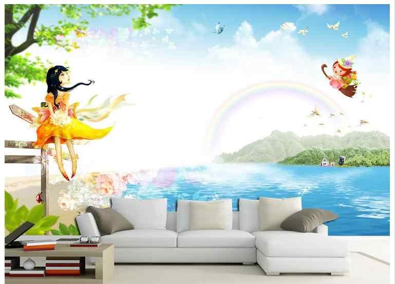 3d фото обои на заказ 3D Настенная Обои чистый и свежий мультфильм фон настенная