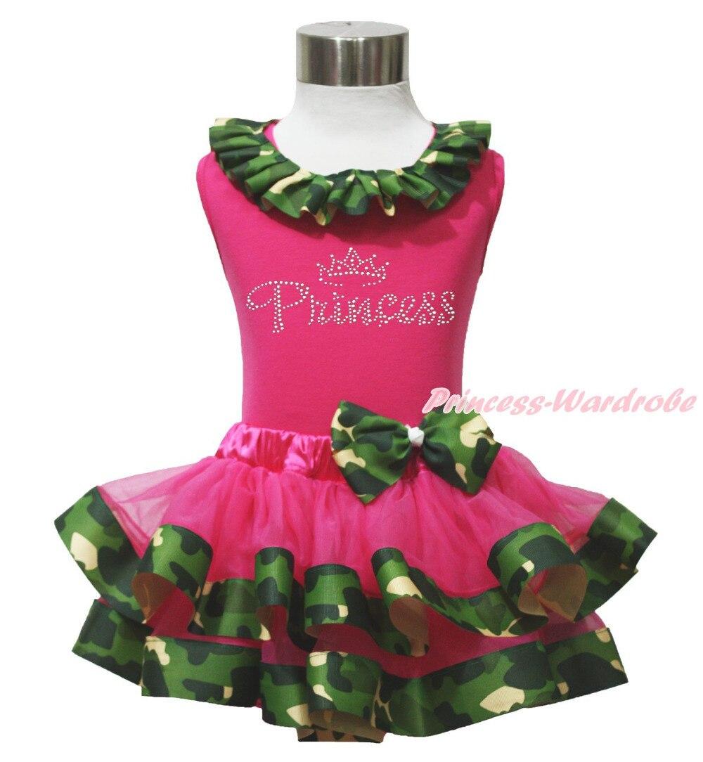ФОТО Rhinestone Princess Hot Pink Top Camouflage Satin Trim Girl Skirt Outfit NB-8Y MAPSA0645