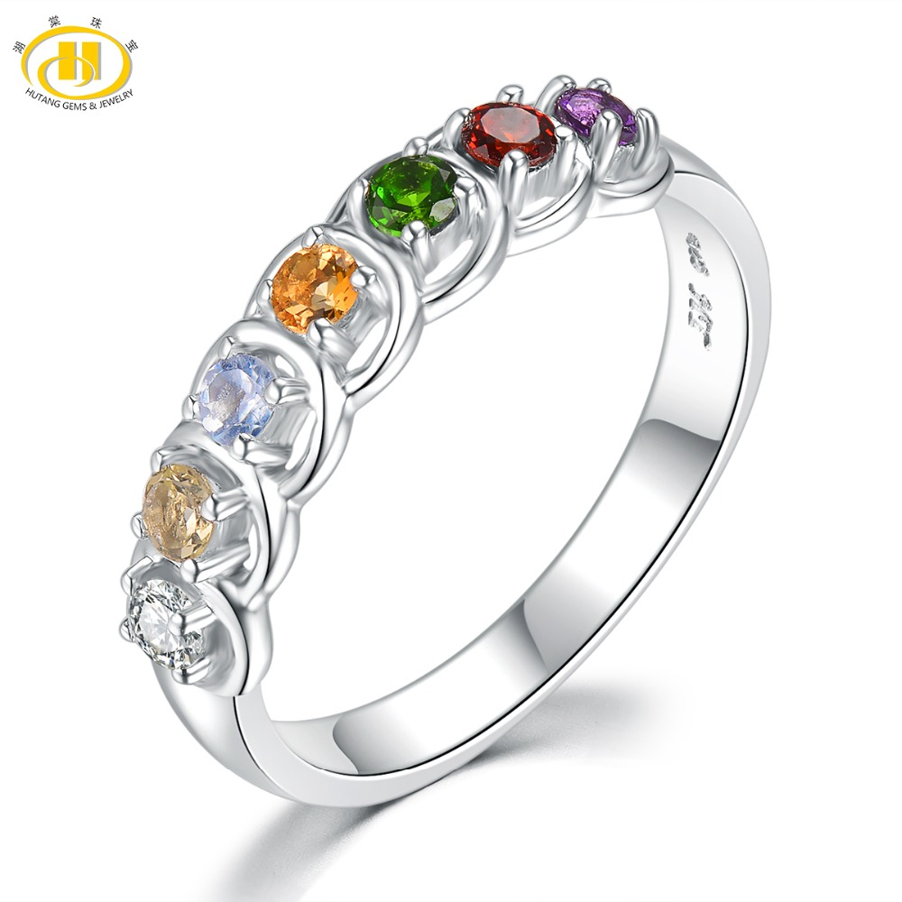 Hutang Natural Multi Gemstone Engagement Rings African Amethyst Garnet 925 Sterling Silver Rings Fine Stone Jewelry for Women's