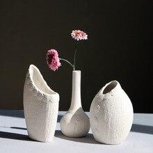 Sweater Pattern White Ceramic Vase For Home And Garden Decor