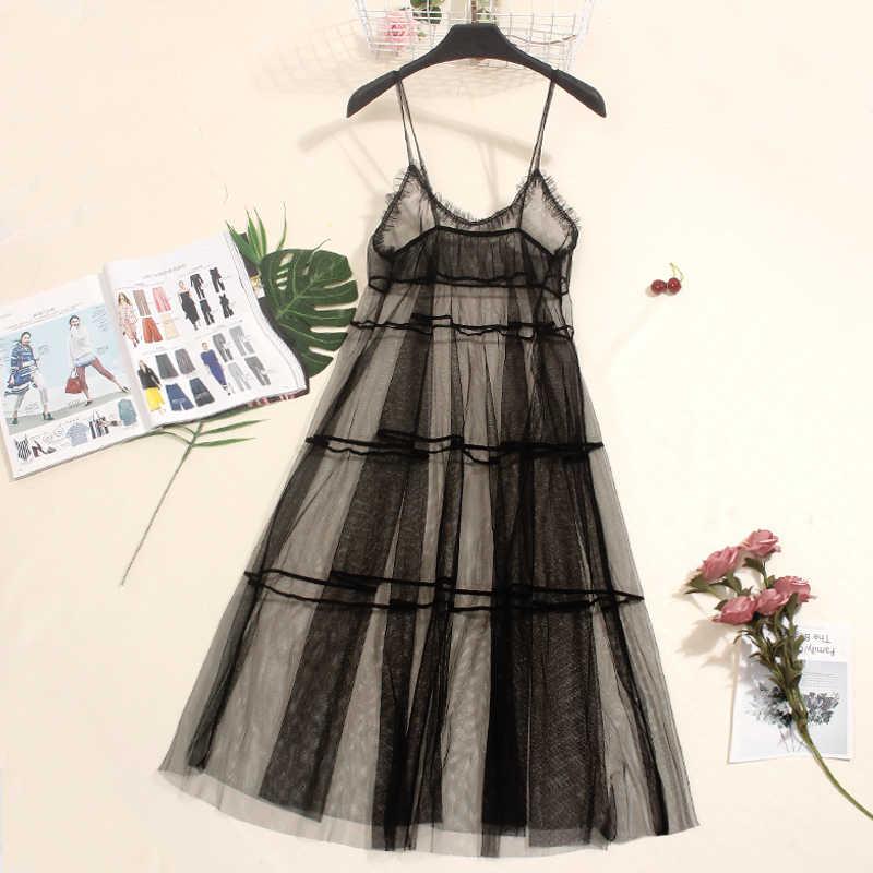 Summer Autumn Sexy Spaghetti Strap Mesh Dress Women Vintage Tunic Long Gauze  Tank Dress Plus Size b857eb659680