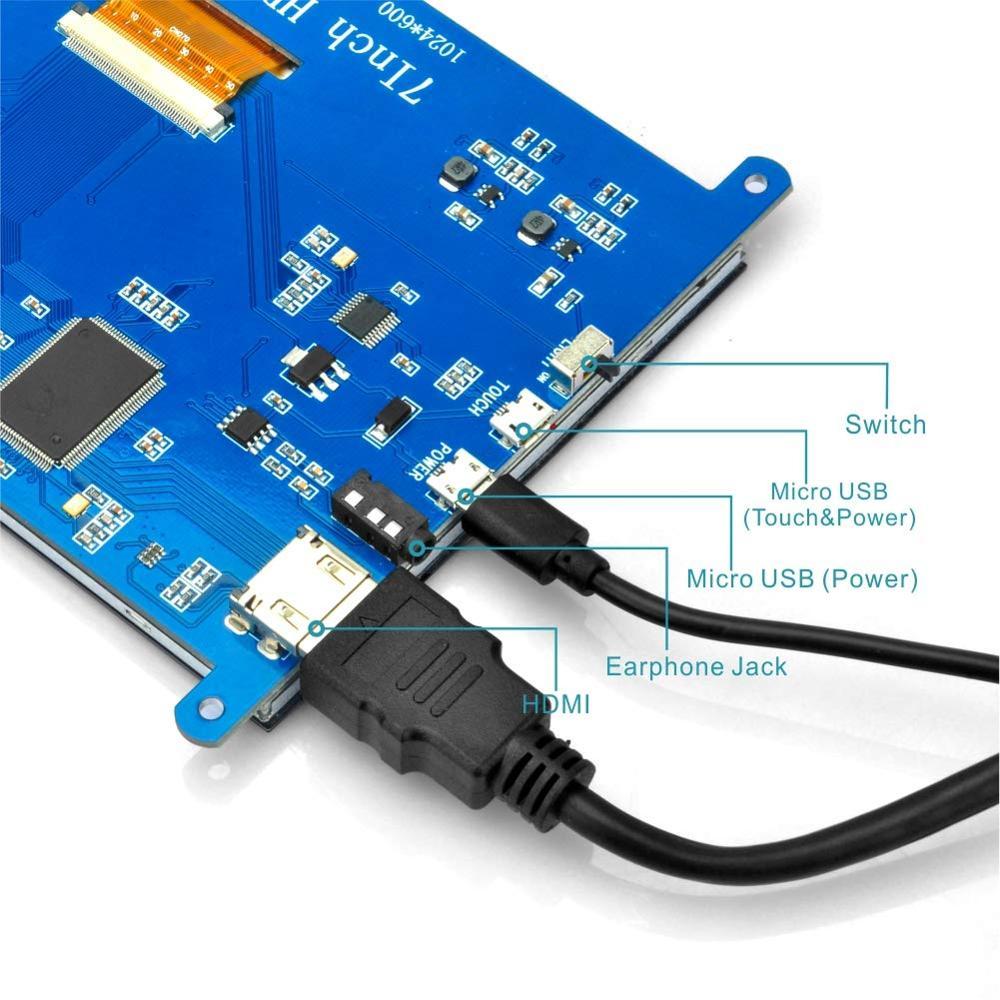 7 pollici HDMI TFT Touch Screen Display LCD Monitor HD 1024x600 per Raspberry Pi 3 Modello B + pi 4 Del Computer TV Box DVR Dispositivo di Gioco - 4