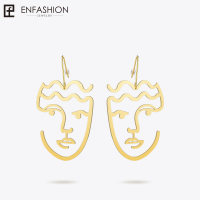 Enfashion Classic Big Silhouette Dangle Earrings Gold Color Earings Face Drop Earrings For Women Long Earring